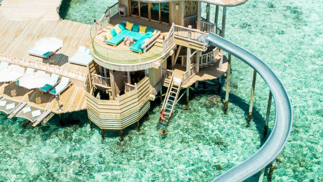 Luxury stays like Soneva Fushi even offer mini water parks on the water.Picture: Supplied