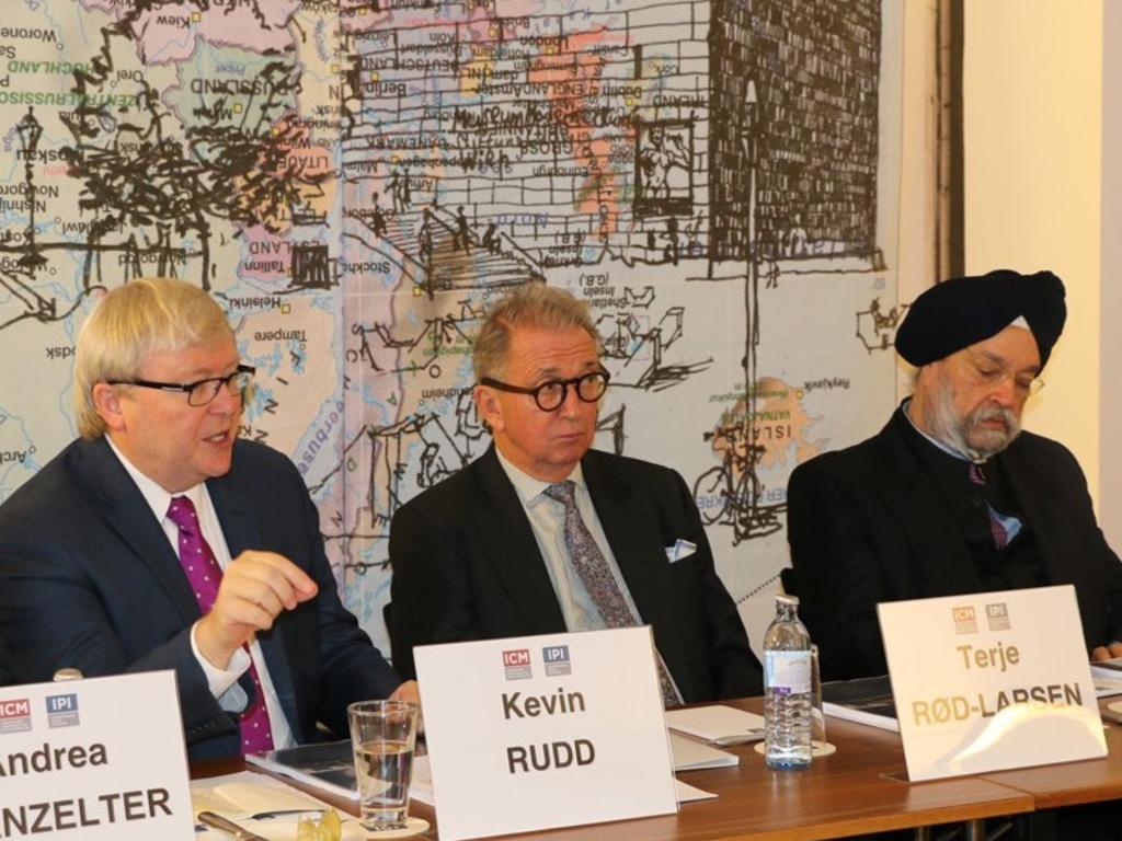 Kevin Rudd with International Peace Institute president Terje Rod-Larsen in 2016.