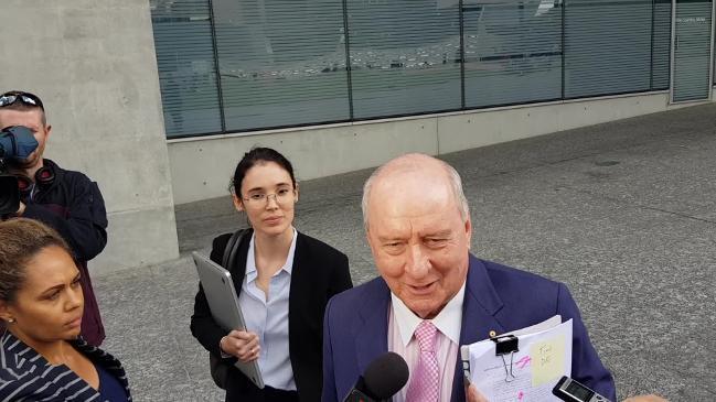 Alan Jones speaks outside Brisbane court