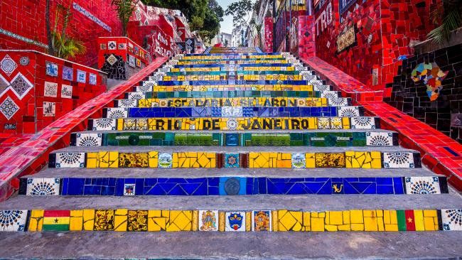 Make sure to stop by the famous Escadaria Selaron stairs - a mosaic of colour and artistic creativity.