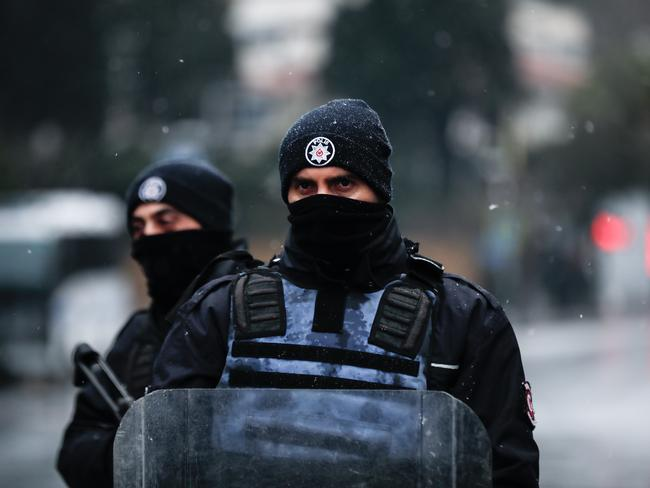 Police guard an area near an Istanbul nightclub following a gun attack on New Year's Eve. Picture: Stringer/Getty Images