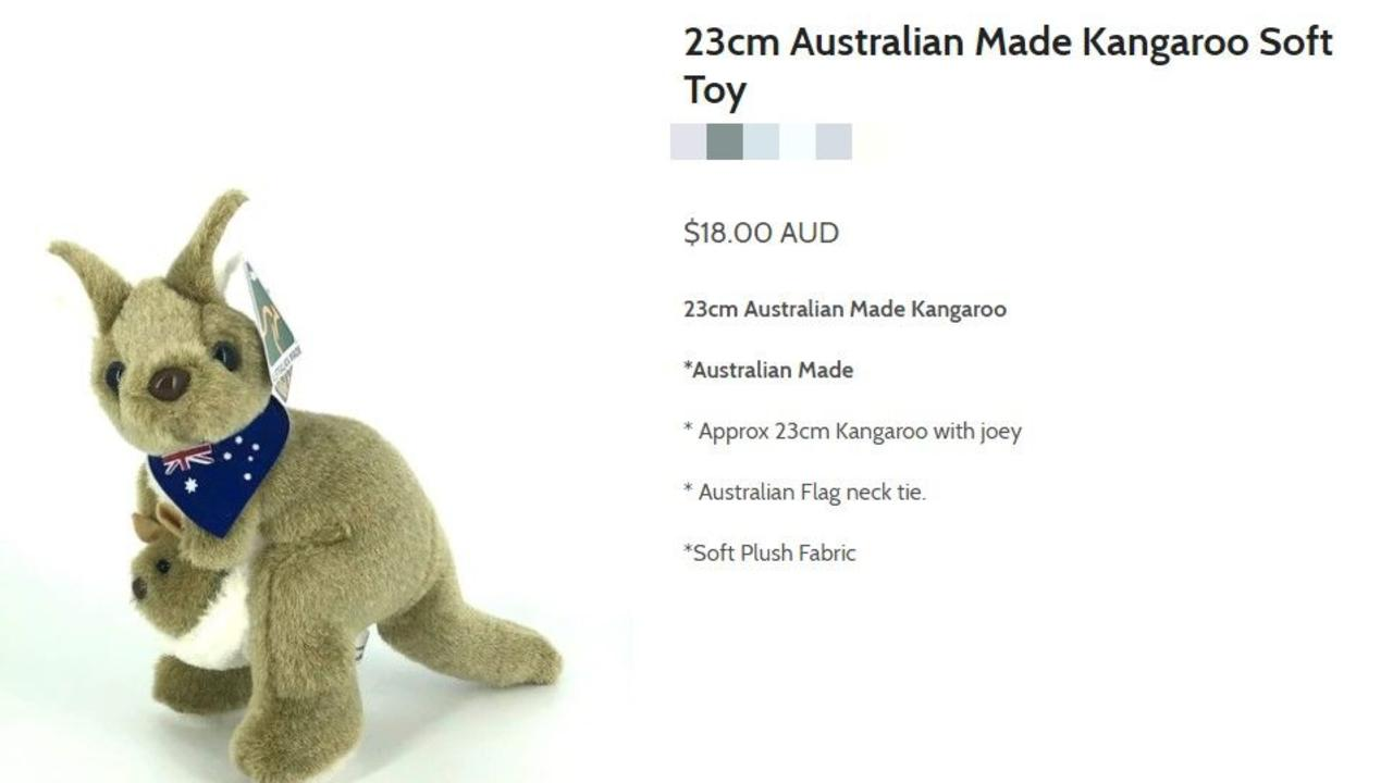 The kangaroo sold as Australian Made offered online by a Melbourne shop for $18. Picture: Supplied