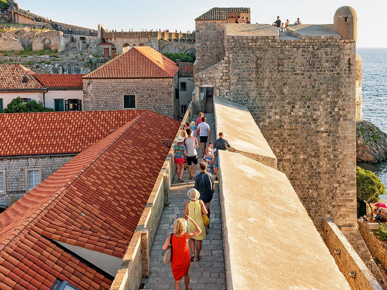 People in Old City Walls in Dubrovnik Croatia