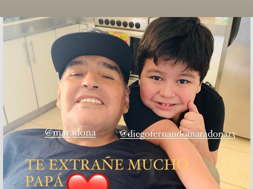 Maradona with seven-year-old son, Diego Jr.