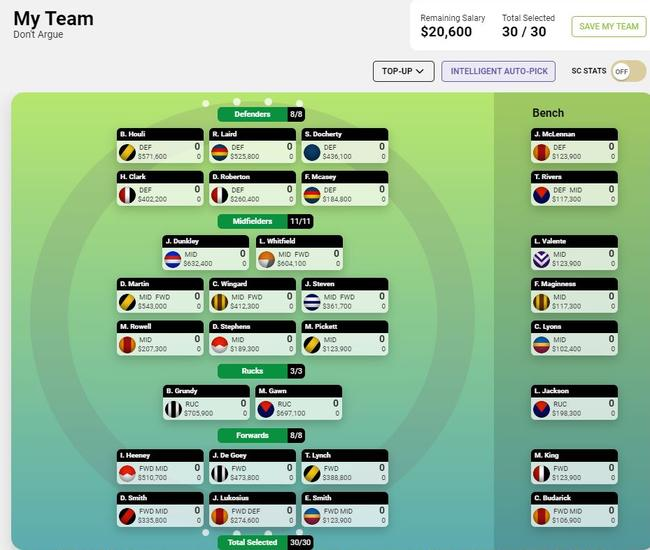 Pick a top SuperCoach side in five minutes