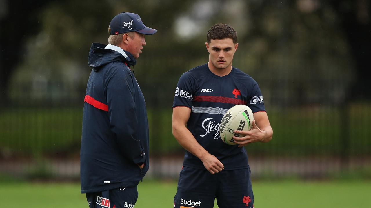 Kyle Flanagan fronted Trent Robinsion over his Roosters omission. Picture: Brett Costello