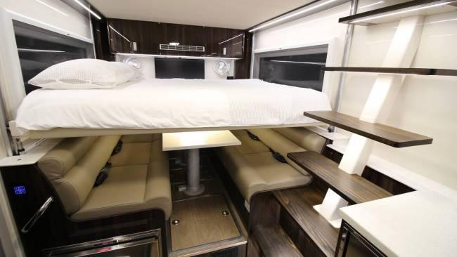 A spare bed lowers over the sitting area. Photo / Supplied
