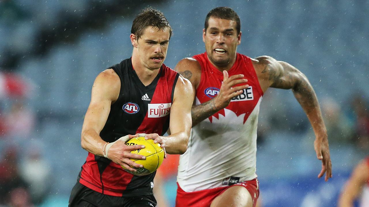 Sydney forward Lance Franklin chases a young Joe Daniher in 2015.