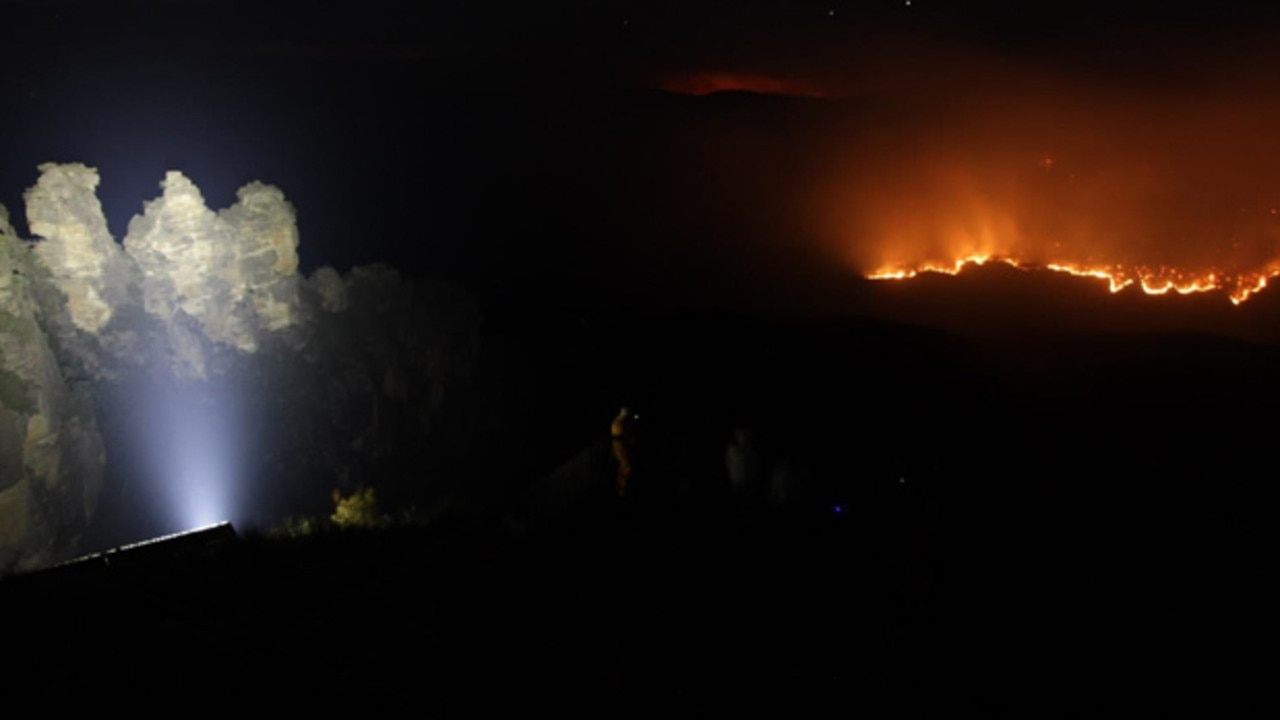 Bushfires came close to the Blue Mountains' iconic Three Sisters overnight. Picture: Hazelbrook Rural Fire Brigade