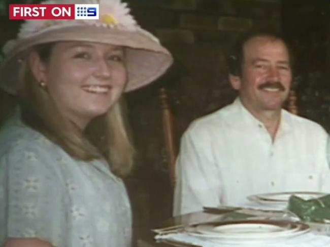 Don Spiers with his daughter Sarah in a family video before the 18-year-old vanished from the streets of Claremont in Perth. Picture: Nine Network