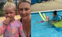 'My two year old fell in the pool and saved her own life'