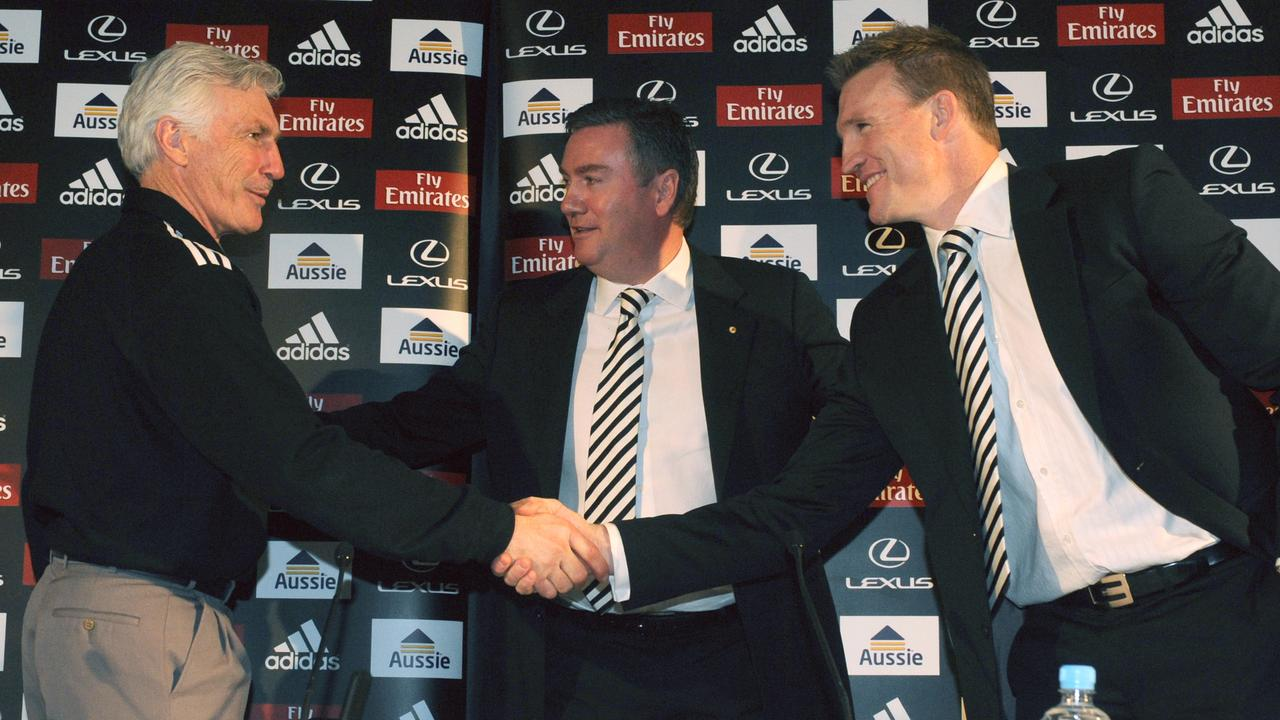 Hawthorn will be hoping to avoid the drama that surrounded Collingwood's succession plan from Mick Malthouse to Nathan Buckley. (AAP Image/Julian Smith)