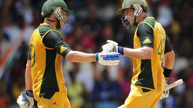2010 ICC T20 World Cup Final: Australian batsmen and brothers David and Michael Hussey