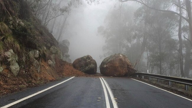 Landslide, boulders cause road chaos in NSW