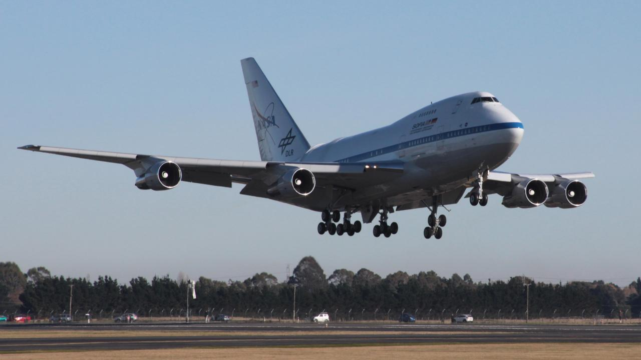 NASA's flying observatory SOFIA, landing on June 6, 2016, at Christchurch Airport