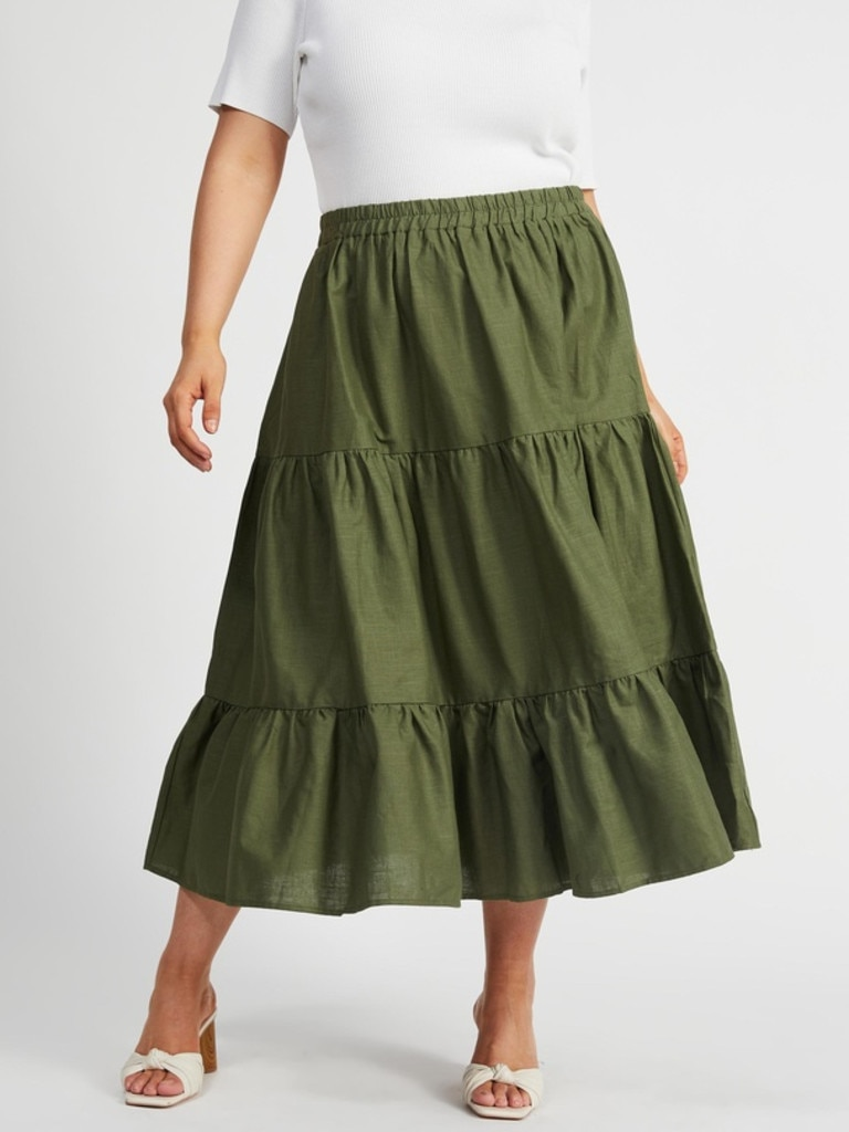 Atmos&Here Curvy Kelva Linen Midi Skirt