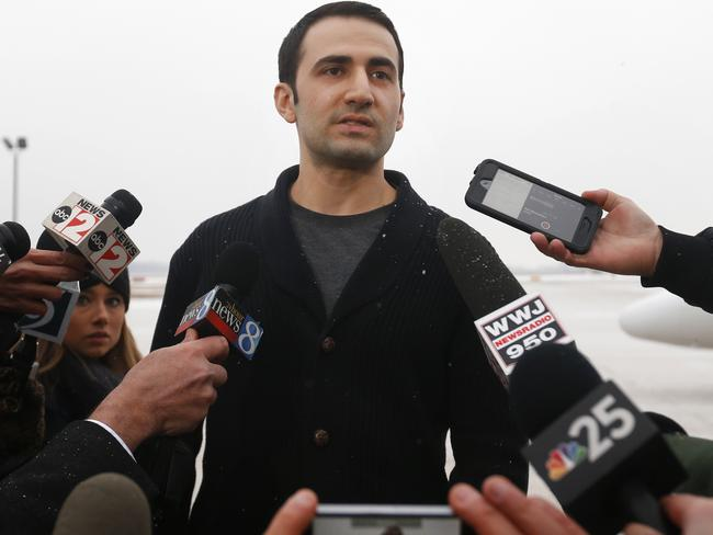 Former US Marine Amir Hekmati speaks to the media in his home state Michigan after his release from an Iranian prison as part of a new deal between Iran and the US aimed at developing the friendship between the two countries.