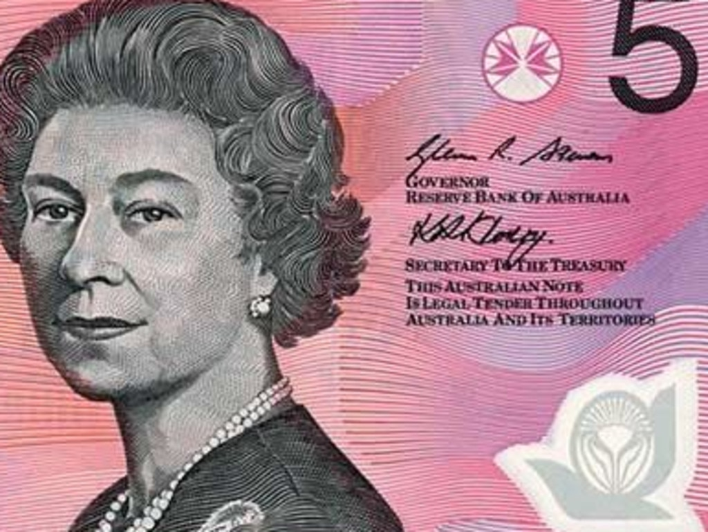 The original Australian Polymer $5 Banknote- Signature side. Supplied
