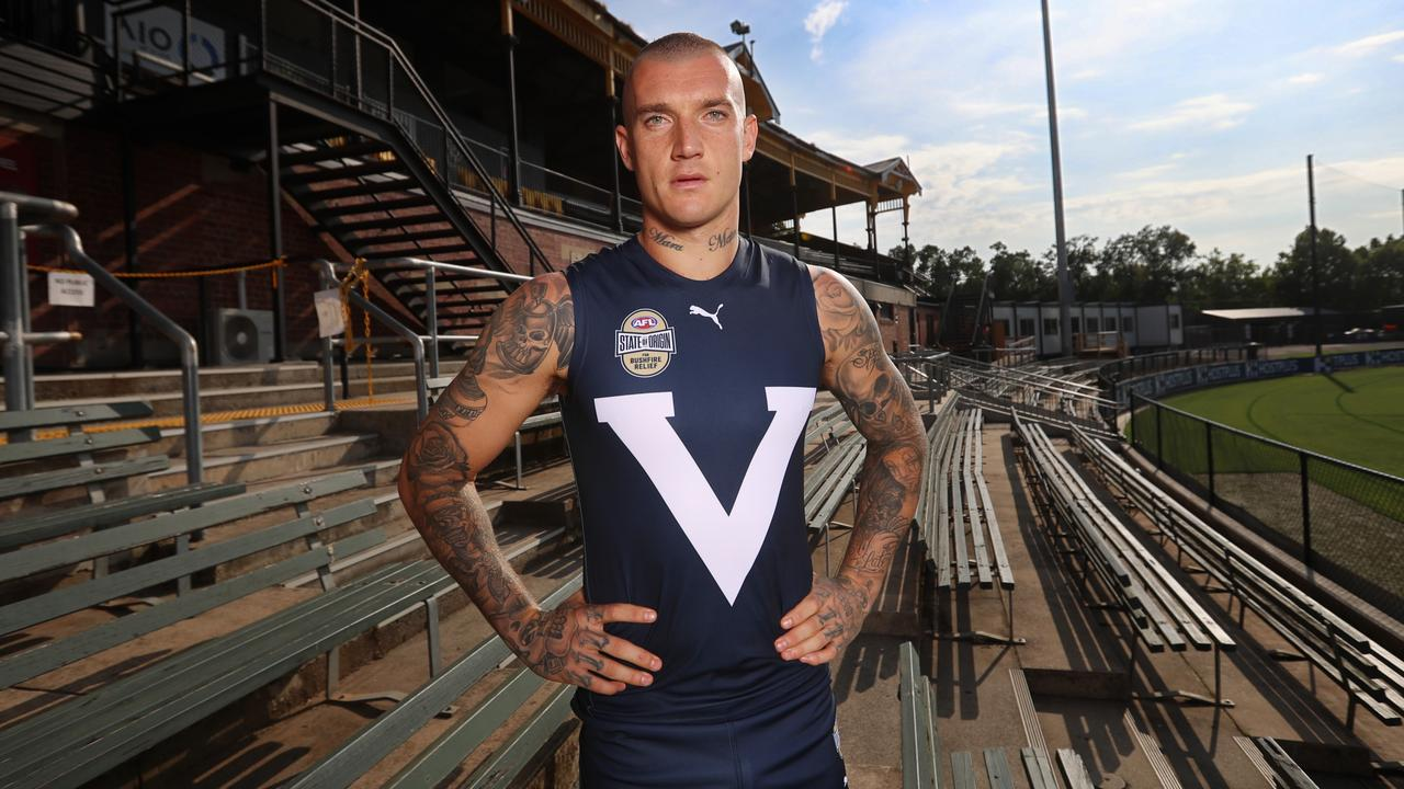 Richmond's Dustin Martin headlines the star-studded Victorian side in Friday night's State of Origin for Bushfire Relief match at Marvel Stadium.