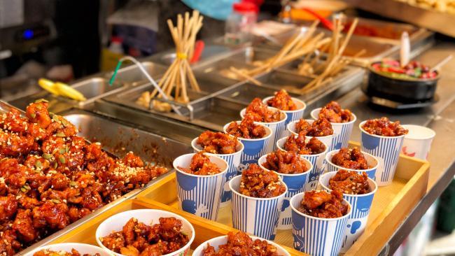 Food market in Myeongdong, Seoul, South Korea