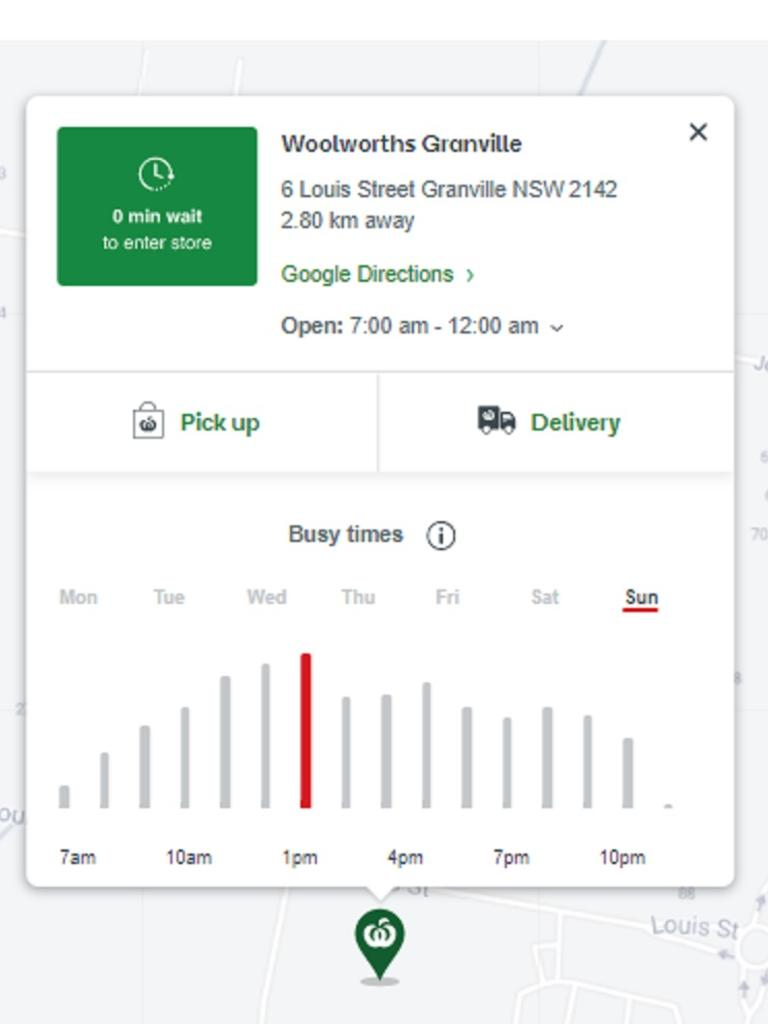 Woolworths Q-Tracker tool shows how busy each store is hour-by-hour. Picture: Supplied