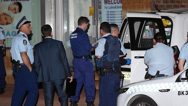 Police established a crime scene at the Padstow Park Hotel on Howard Street after two people burst into the premises brandishing a gun. Picture: Bill Hearne