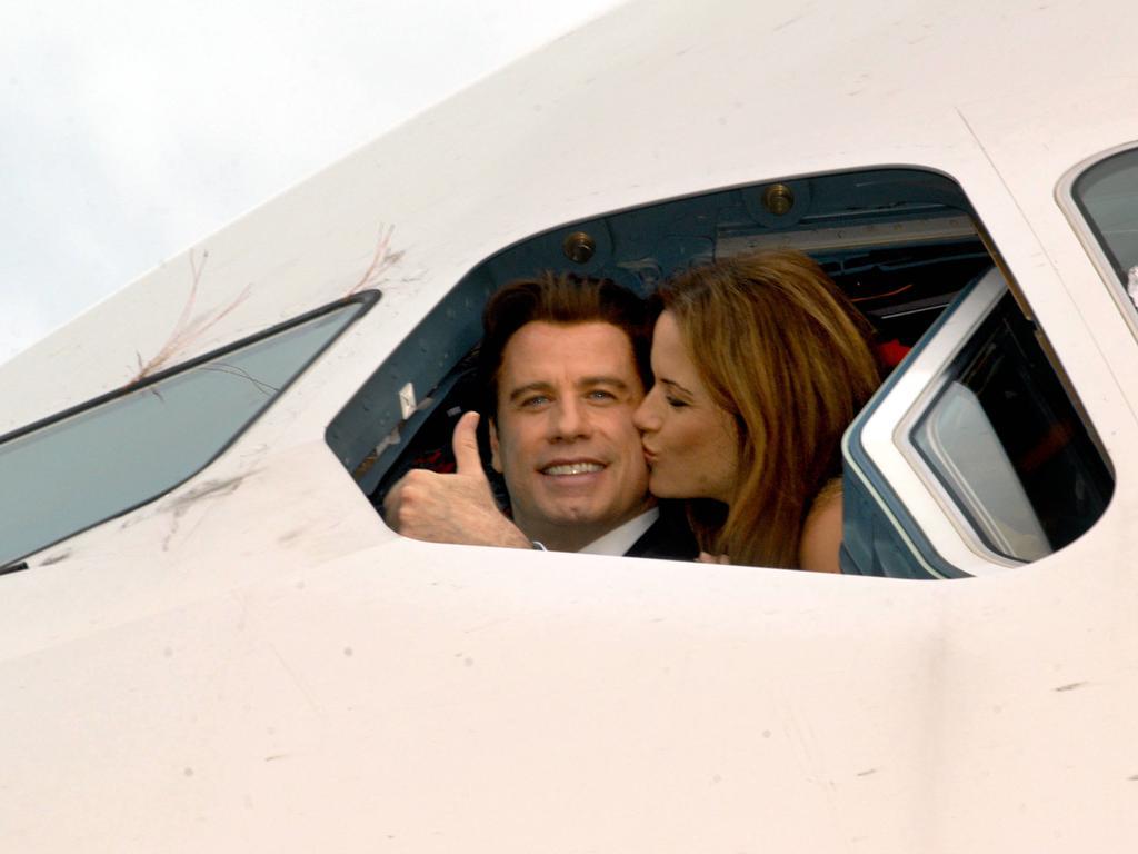 John Travolta and Kelly Preston in a Qantas Airbus A380 aircraft at Brisbane Airport in 2005.