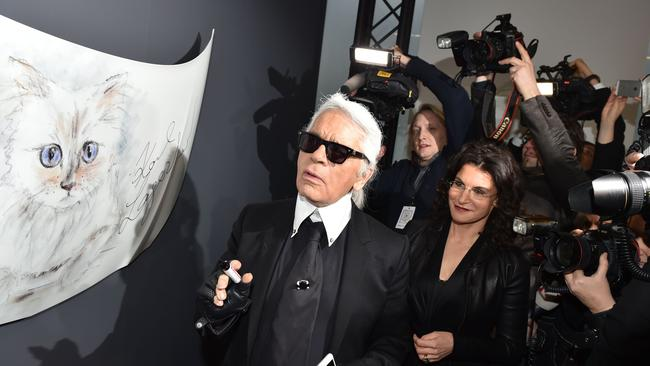 Karl Lagerfeld at the opening of 'Corsa Karl and Choupette'.