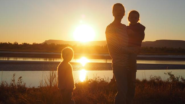 The family takes in the stunning views. Picture: Leah McLennan