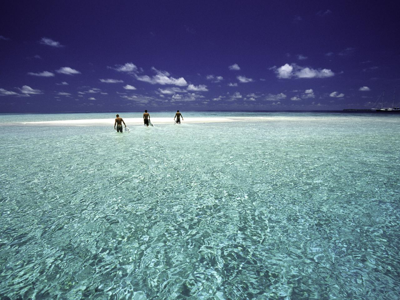 Maldives, North MalA Atoll, surfers. Maldives in the Indian Ocean is a popular destination for surfing.