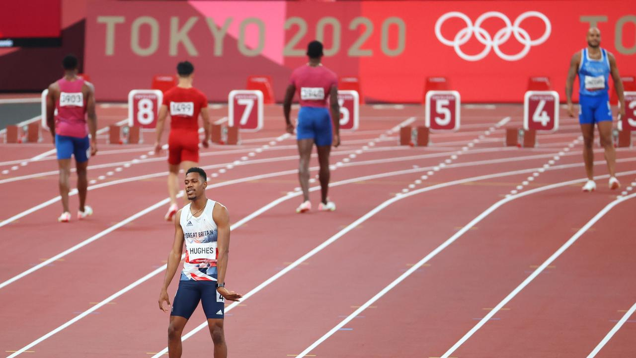 Zharnel Hughes of Great Britain reacts after being disqualified for a false start. (Photo by Abbie Parr/Getty Images)