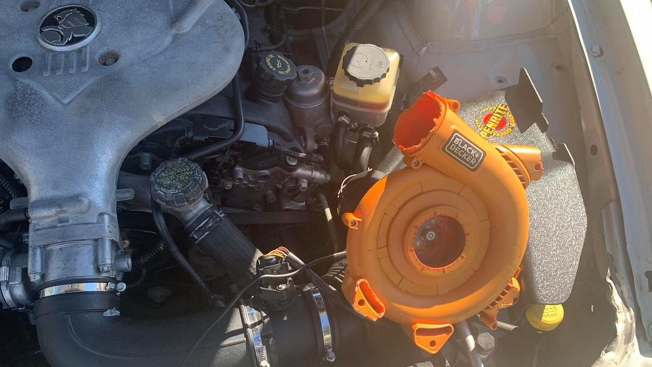 NSW Police pulled over a driver who had fitted a Black and Decker leaf blower to his engine. Photo: NSW Traffic and Highway Patrol Facebook page.
