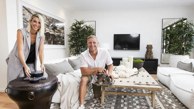 Last year's House Rules winners Aaron and Daniella Winter have finished their first solo house flip in Broadbeach Waters. Picture: Nigel Hallett.