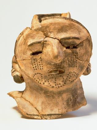 Human head from an effigy pottery vessel, found at Pueblo Bonito, Chaco Culture National Historical Park, New Mexico.