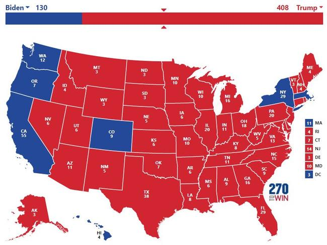 How the electoral map could look on election night, according to Hawkfish's scenario. Picture: 270toWin