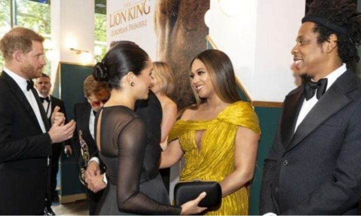 Meghan Markle and Beyonce at Lion King premiere