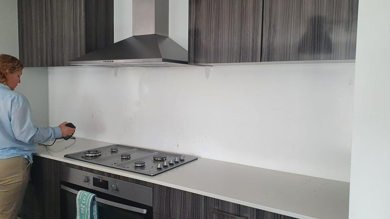 Others have also discovered the retailer's $25 fake tiles. This is a 'before' snap of a woman's kitchen. Picture: Facebook