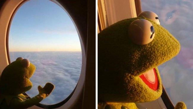 """""""When you realise you're 40,000 feet away from everyone and their crap""""."""