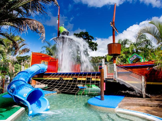 BIG4 SUNSHINE RESORT, SOUTH WEST ROCKS, NSW: Pools are always a drawcard for kids but when there's a pirate ship as its centrepiece it's even harder to drag them away. Since opening in 2015, the $75,000 Shipwreck Island development at BIG4 Sunshine Resort on NSW's Mid North Coast has been a huge hit, with a replica tall ship converted into a water adventure playground, waterslides, water cannons and a giant tipping bucket. Kids can climb aboard with a rope, dive under the deck to look for treasure or hide out in Skull Cave. big4southwestrocks.com.au
