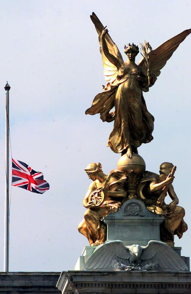 The Union Jack flag on the top of the Queen's official London residence Buckingham Palace flew at half mast in 1998. The flag was flown at half mast as a mark of respect on the first anniversary of the death of Diana, Princess of Wales. Picture: AP