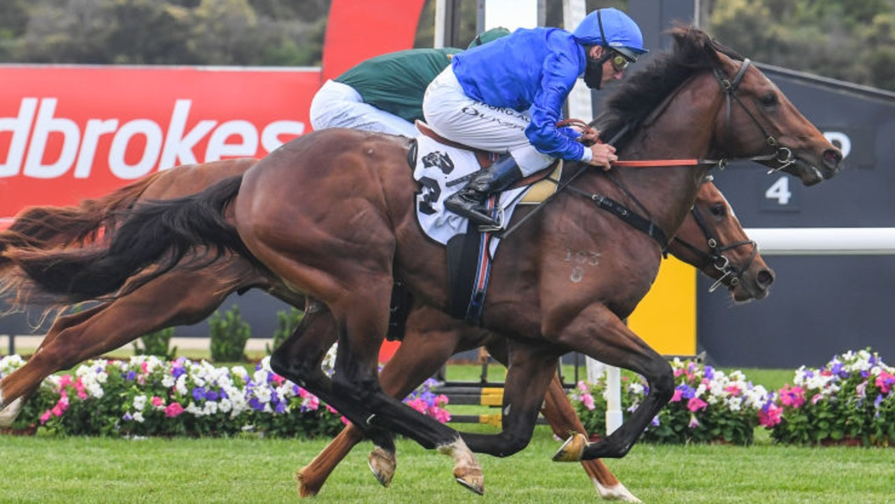 Anamoe ridden by Damien Oliver wins the Thoroughbred Club Merson Cooper Stakes at Ladbrokes Park Hillside Racecourse on November 14, 2020 in Springvale, Australia. (Natasha Morello/Racing Photos via Getty Images)