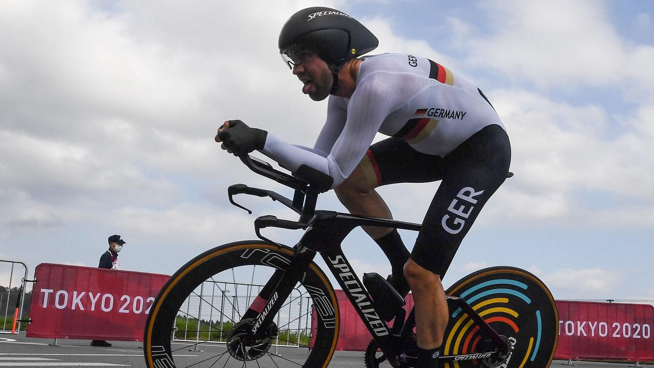 Germany's Maximilian Schachmann competes in the men's cycling road individual time trial during the Tokyo 2020 Olympic Games at the Fuji International Speedway in Oyama, Japan, on July 28, 2021. (Photo by Greg Baker / AFP)