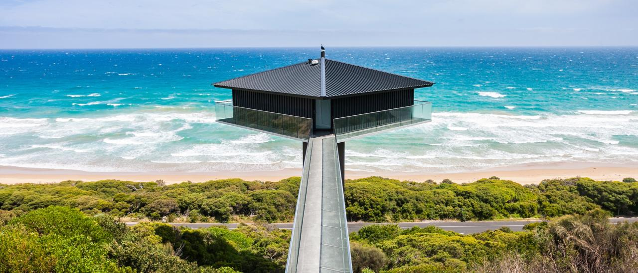 The Pole House - Fairhaven, VIC. A top 20 finalist in the 2020 Stayz Holiday Home Awards. Picture: Stayz