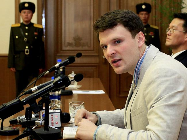American student Otto Warmbier speaks at his trial in February 2016. Picture: AP