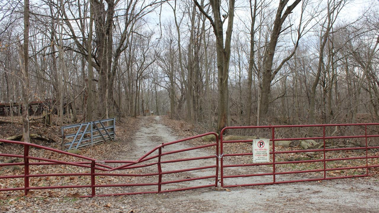 Although the red gate was not there at the time Libby and Abby were murdered, this is the spot where their fatal walk began. Picture: LH/ Google.