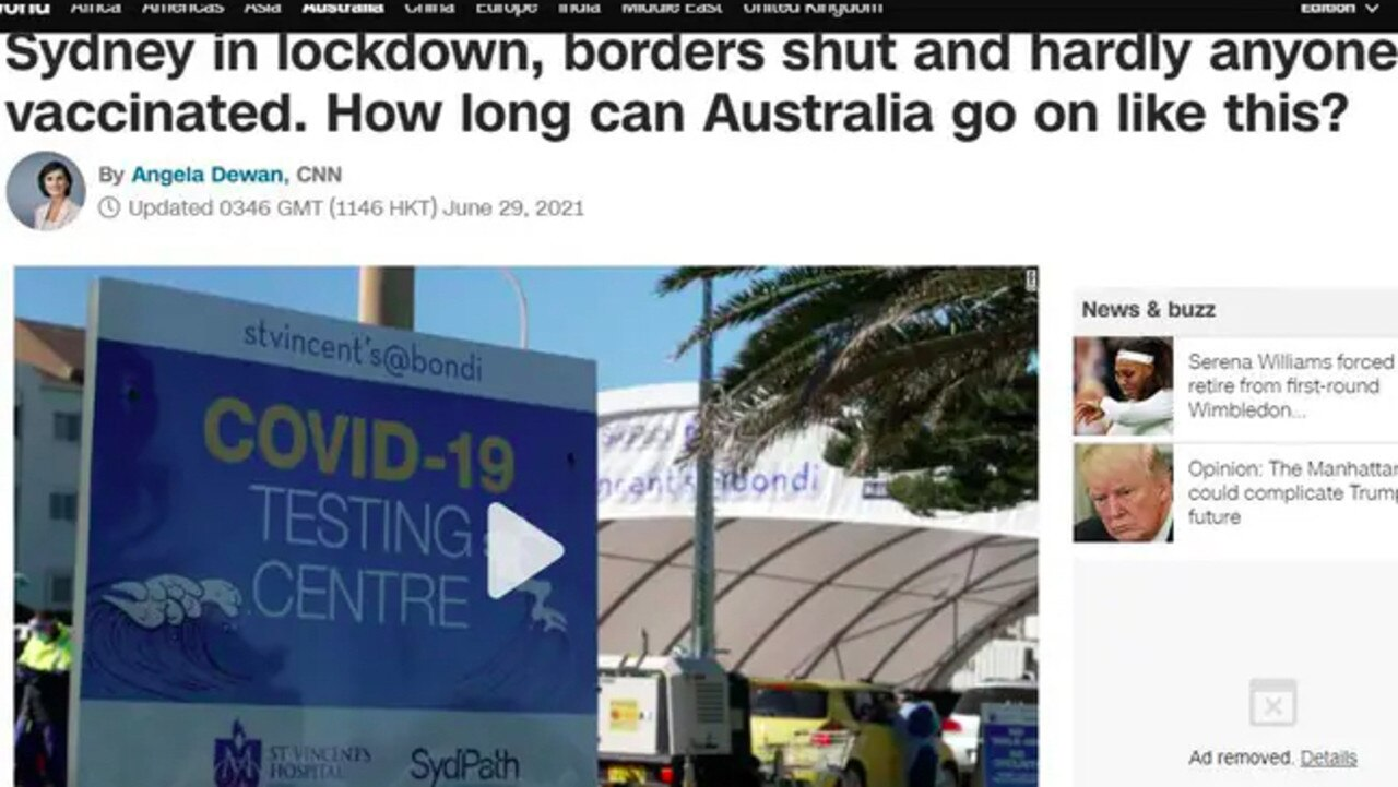 """CNN reported that Aussies were """"getting weary of these sporadic disruptions to their lives"""". Picture: Supplied"""