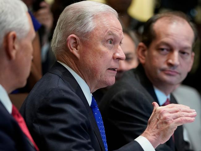 US Attorney-General Jeff Sessions is again in the US President's crosshairs. Picture: AFP