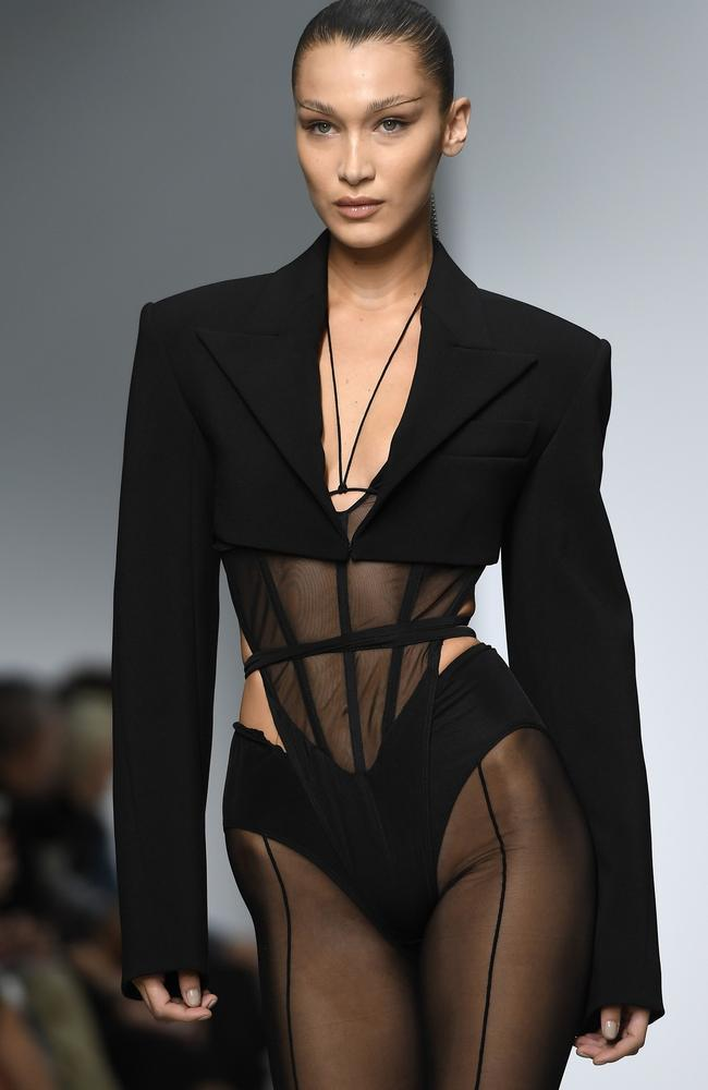 Bella Hadid in a 'mico suit' by Mugler in Paris. Picture: AFP