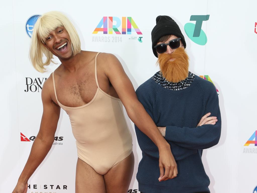 Matt Okine as Sia and Alex Dyson as Chet Faker at the ARIAs. Picture: Adam Taylor