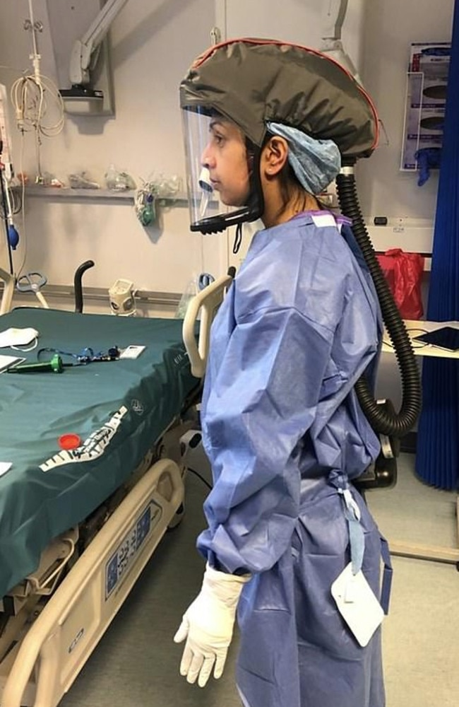 Josh Dhaliwal, from Hampshire in the UK, shared a photo of his wife, Dr Rosie Kalsi, dressed in full PPE equipment as she prepared to start her shift in her role as Consultant Intensivist at Winchester Hospital. Picture: LinkedIn.